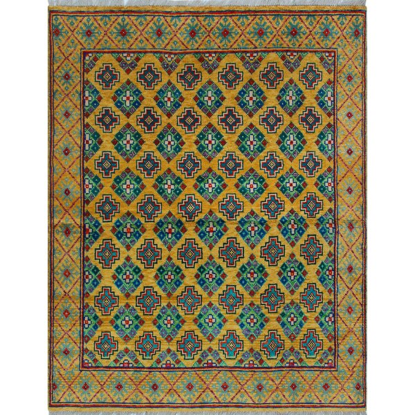 One-of-a-Kind Altoona Hand-Knotted Wool Blue/Yellow Are Rug by Isabelline