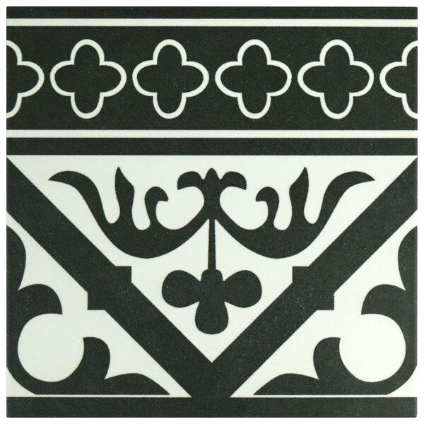 Seni Orleans Cenefa 9.75 x 9.75 Porcelain Field Tile in Black by EliteTile