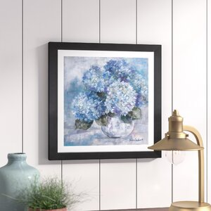 'Hydrangea Blues' Framed Painting Print by Lark Manor