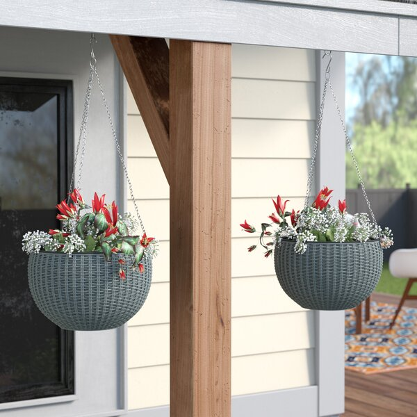 Byrum Plastic Hanging Planter (Set of 2) by Wrought Studio