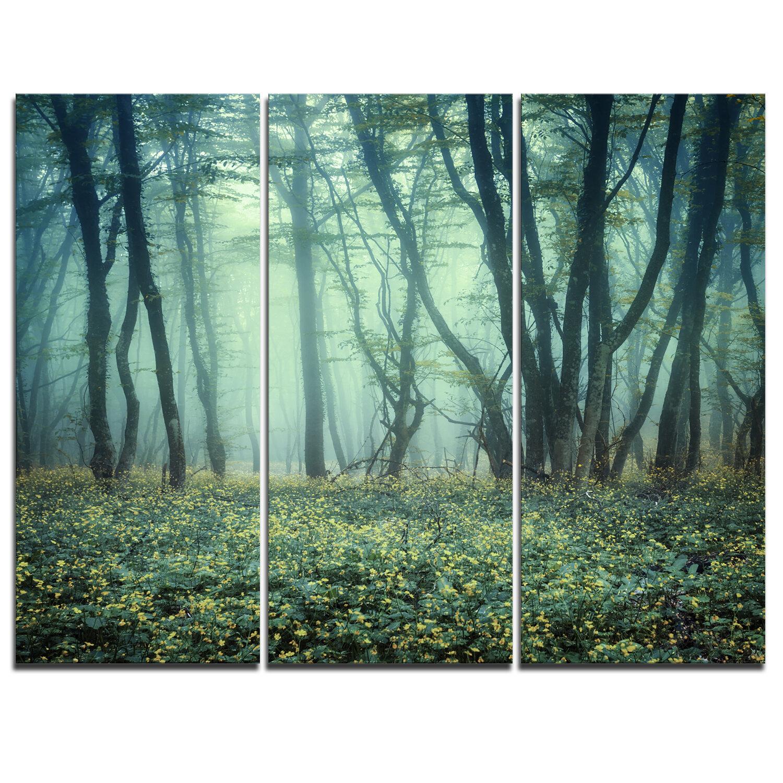 Designart Trail Through Foggy Forest 3 Piece Graphic Art On Wrapped Canvas Set Wayfair