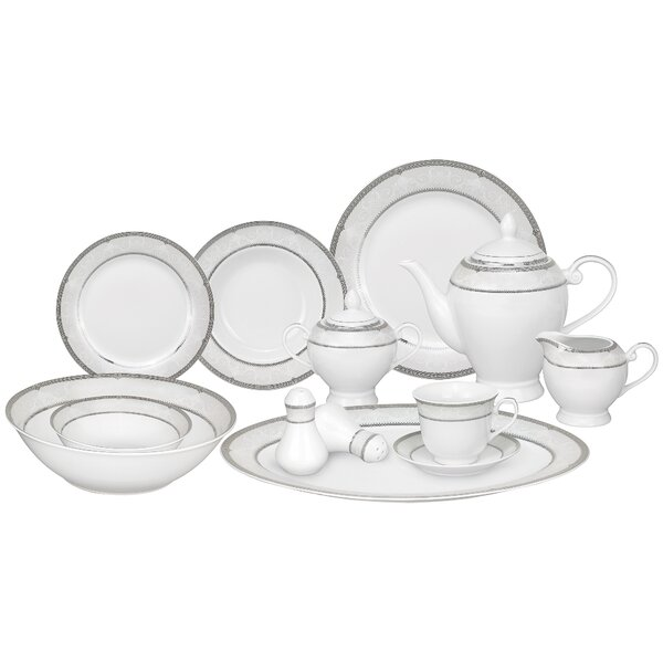 Ballo Porcelain 57 Piece Dinnerware Set, Service for 8 by Lorren Home Trends