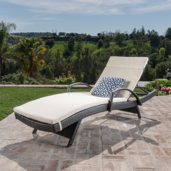 Rebello Traditional Chaise Lounge with Cushion by Sol 72 Outdoor