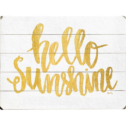 Wrought Studio Cooper Square Hello Sunshine Textual Art on Plaque ...