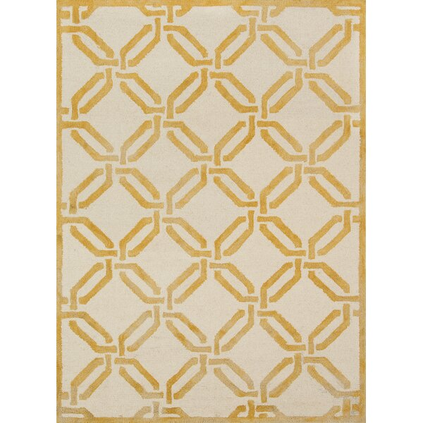 Cutlip Hand-Knotted Wool Yellow/Ivory Area Rug by Breakwater Bay