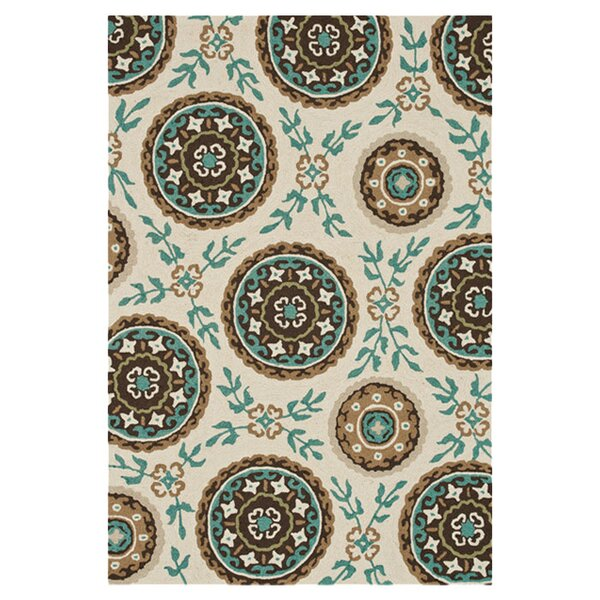 Kirts Hand-Hooked Ivory/Teal Area Rug by Charlton Home