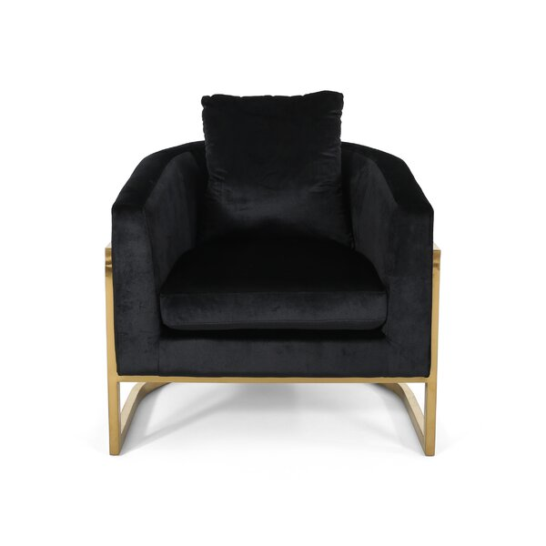 Palmview Modern Velvet Glam Armchair by Everly Quinn