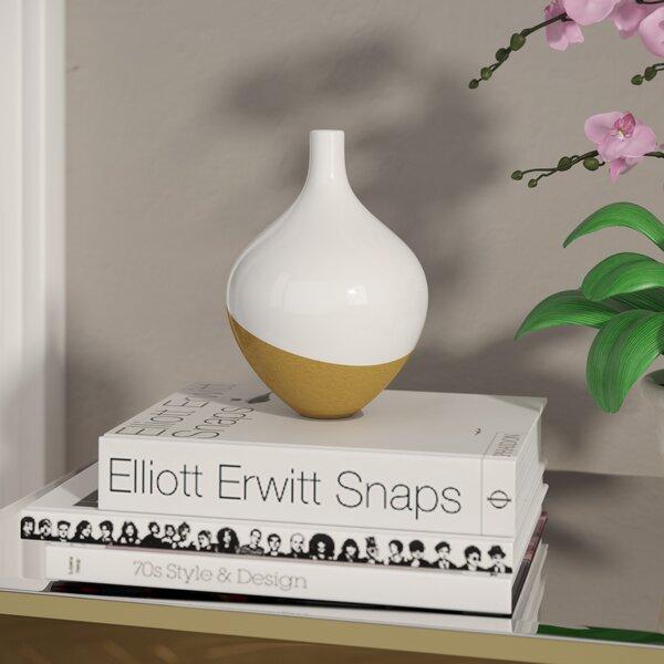 Bud White/Gold Ceramic Vase (Set of 2) by House of Hampton