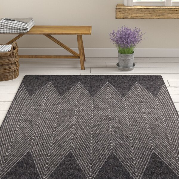 Milivoje Charcoal Chevron Area Rug by Gracie Oaks