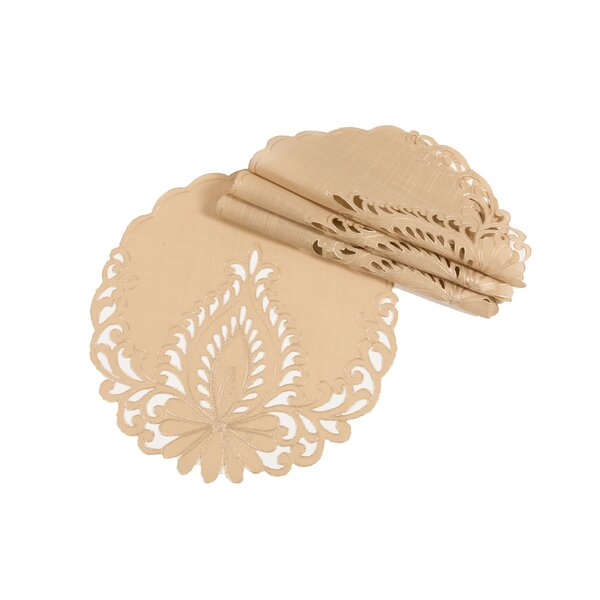 Armadillo Embroidered Cutwork Round Placemat (Set of 4) by Astoria Grand