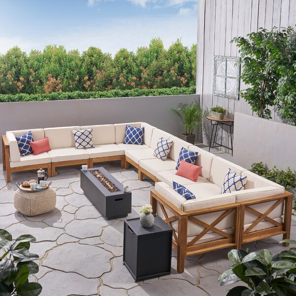 Zebra Outdoor 10 Piece Rattan Sectional Seating Group with Cushions by Longshore Tides