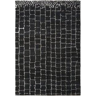 One-of-a-Kind Detweiler Hand-Knotted Wool Black Indoor Area Rug Isabelline