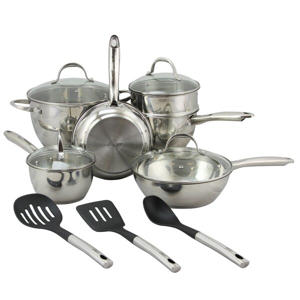 Oster 12 Piece Ridgewell Belly Shape Stainless Steel Cookware Set by Gibson