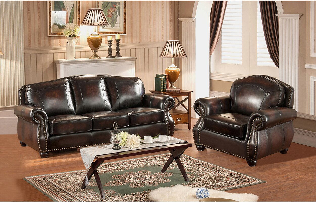 Amax vail 2 piece leather living room set reviews wayfair for Living room sets under 800