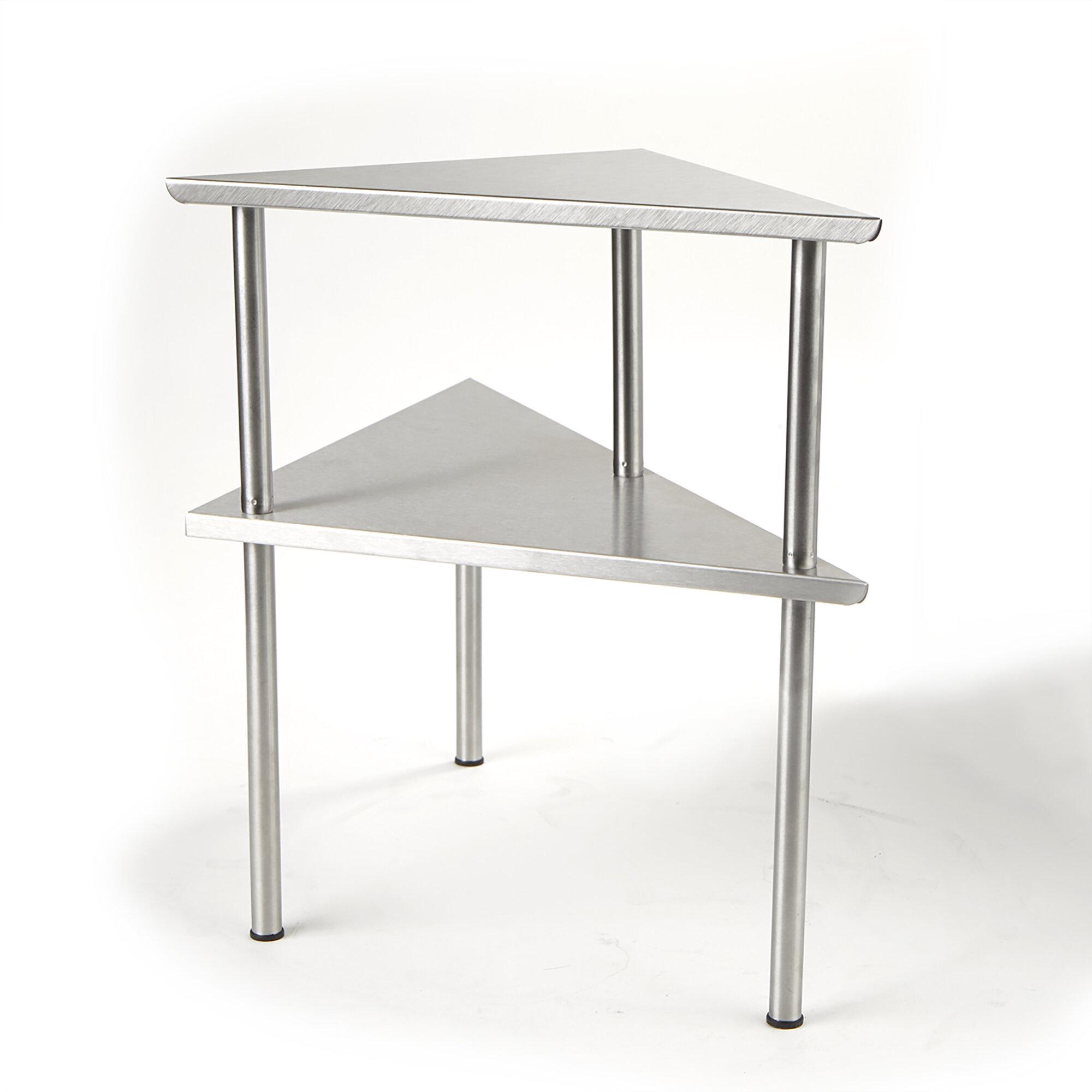 Picture of: Wrought Studio Abdinour 2 Tier Kitchen Corner Rack Prep Table Reviews Wayfair