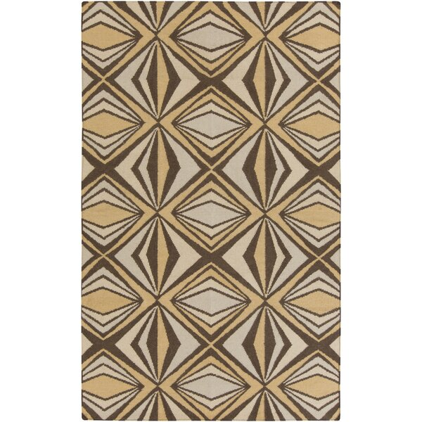 Voyages Brown Geometric Area Rug by Malene b