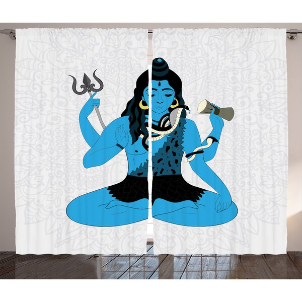 Jhanvi Yoga  Graphic Print and Text Semi-Sheer Rod Pocket Curtain Panels (Set of 2) by World Menagerie