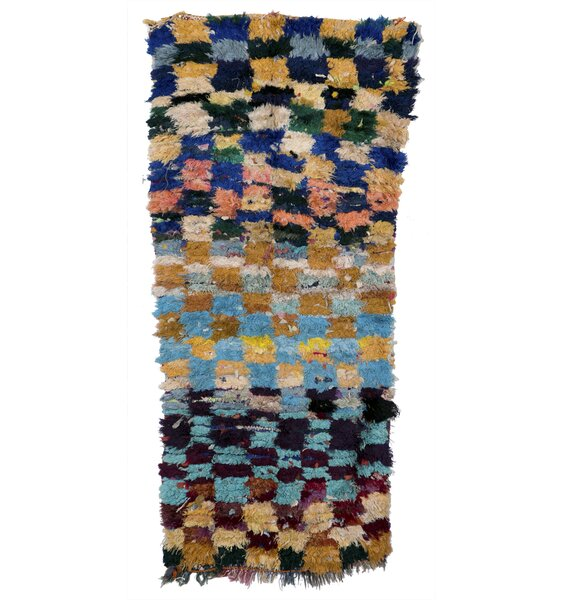 Boucherouite Azilal Hand-Woven Brown/Blue Area Rug by Casablanca Market