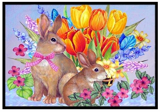 New Beginnings II Easter Rabbit Doormat by Caroline's Treasures