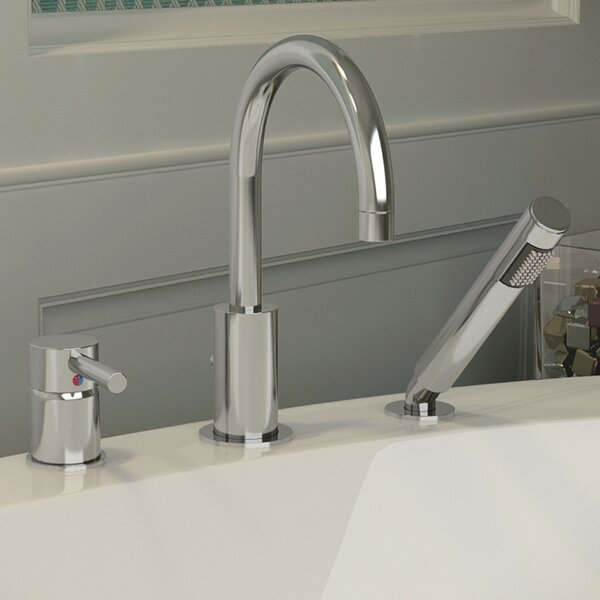 Single Handle Deck Mount Roman Bathtub Faucet with Shower Wand by ANZZI