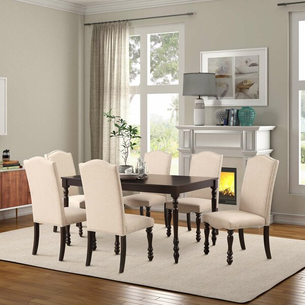 Abarca 7 Piece Solid Wood Dining Set by Canora Grey