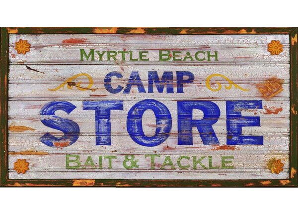 Myrtle Beach Camp Vintage Advertisement Plaque by Millwood Pines