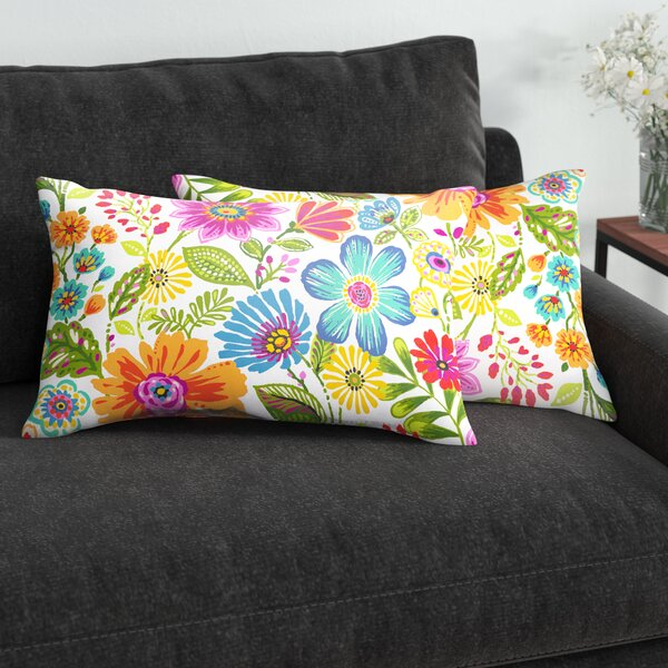 Paxton Floral Indoor/Outdoor Lumbar Pillow (Set of 2) by Andover Mills