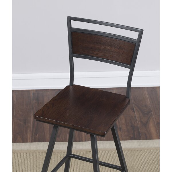 Kimiko Swivel Square Bar Stool by Williston Forge