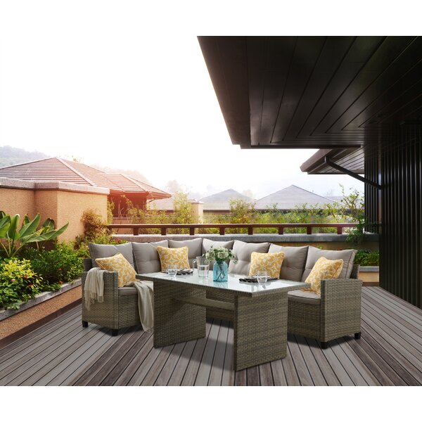 Jameown 3 Piece Rattan Sofa Seating Group with Cushions by Bayou Breeze