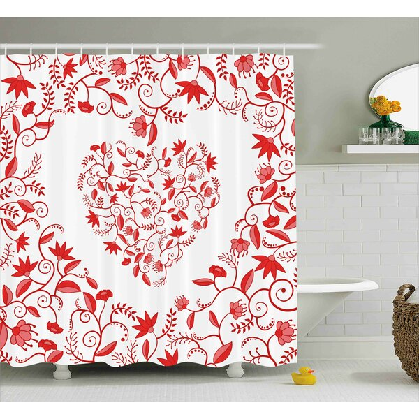 Valentines Day Paisley Floral Details With Leaves and Roses Shower Curtain by The Holiday Aisle