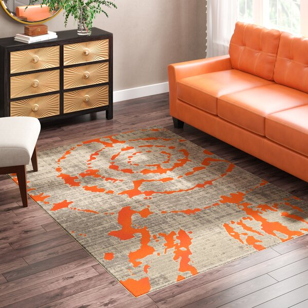 Deasia Light Gray & Orange Area Rug by World Menagerie
