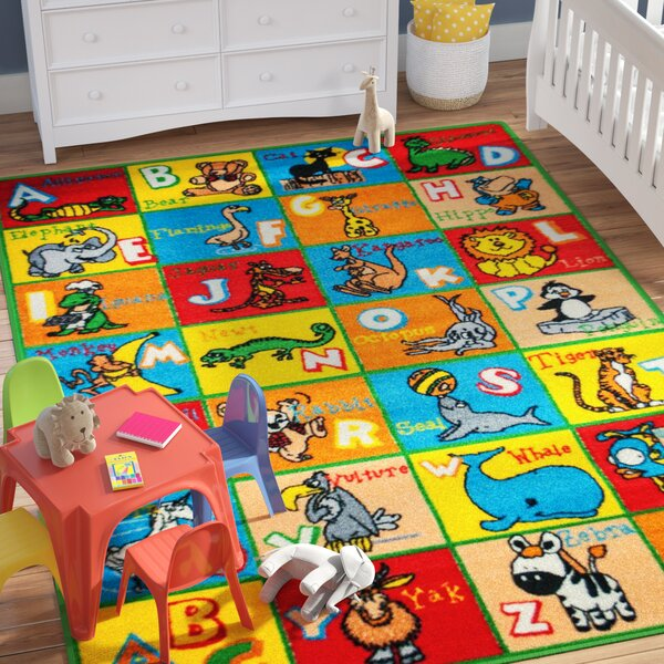 Angelique Learn ABC / Alphabet Letters with Animals Bright Colorful Vibrant Colors Kids / Baby Room Area Rug by Zoomie Kids