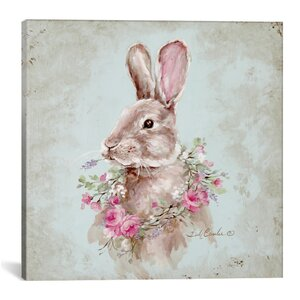 'Bunny with Wreath' Painting Print on Wrapped Canvas by Ophelia & Co.