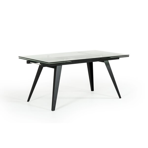 Clower Contemporary Extendable Glass Top Dining Table by Orren Ellis