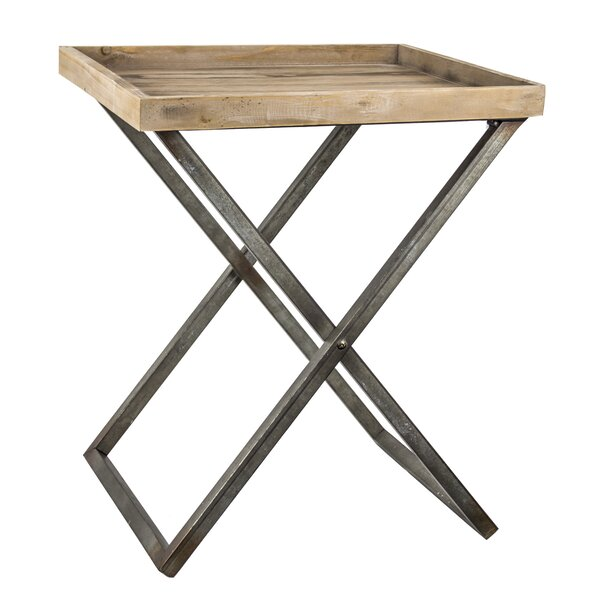 Delicia Decor Wood and Metal Folding Card Tray Table by Gracie Oaks