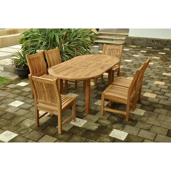 Farnam 7 Piece Teak Dining Set with Sunbrella Cushions by Rosecliff Heights