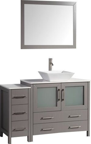 Karson 36 Single Bathroom Vanity Set with Mirror by Wade Logan