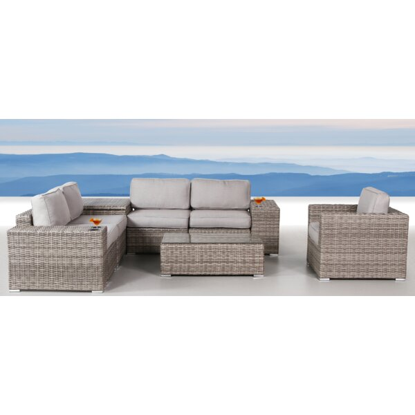 Yeomans 9 Piece Rattan Sectional Seating Group with Cushions by Rosecliff Heights