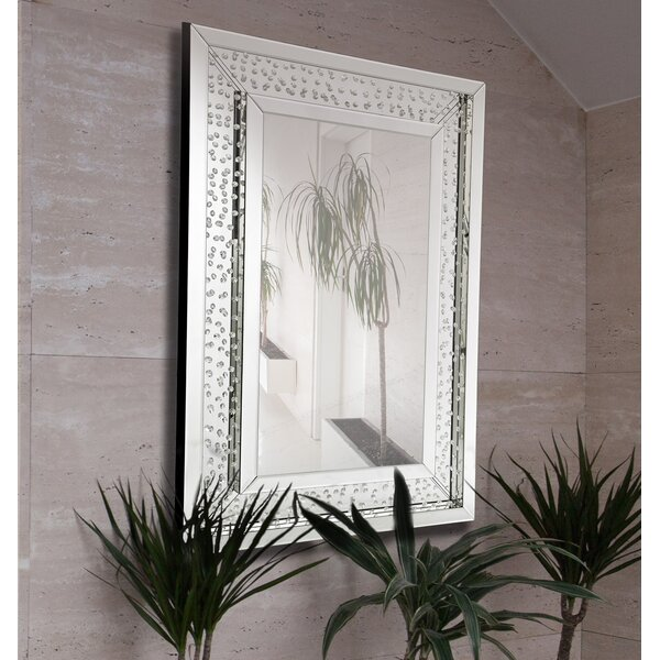 Rectangular Floating Crystals Beveled Panel Framed Wall Mirror by Majestic Mirror