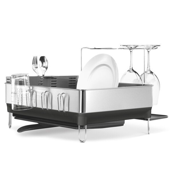 Steel Frame Dish Rack, Fingerprint-Proof Stainless Steel with Grey Plastic by simplehuman