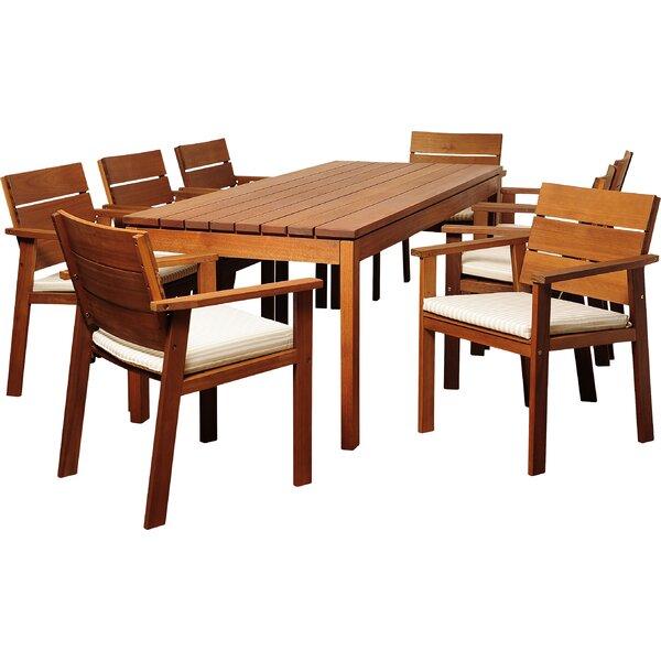 Brighton 9 Piece Rectangular Wood Dining Set With Cushions Reviews Joss Main