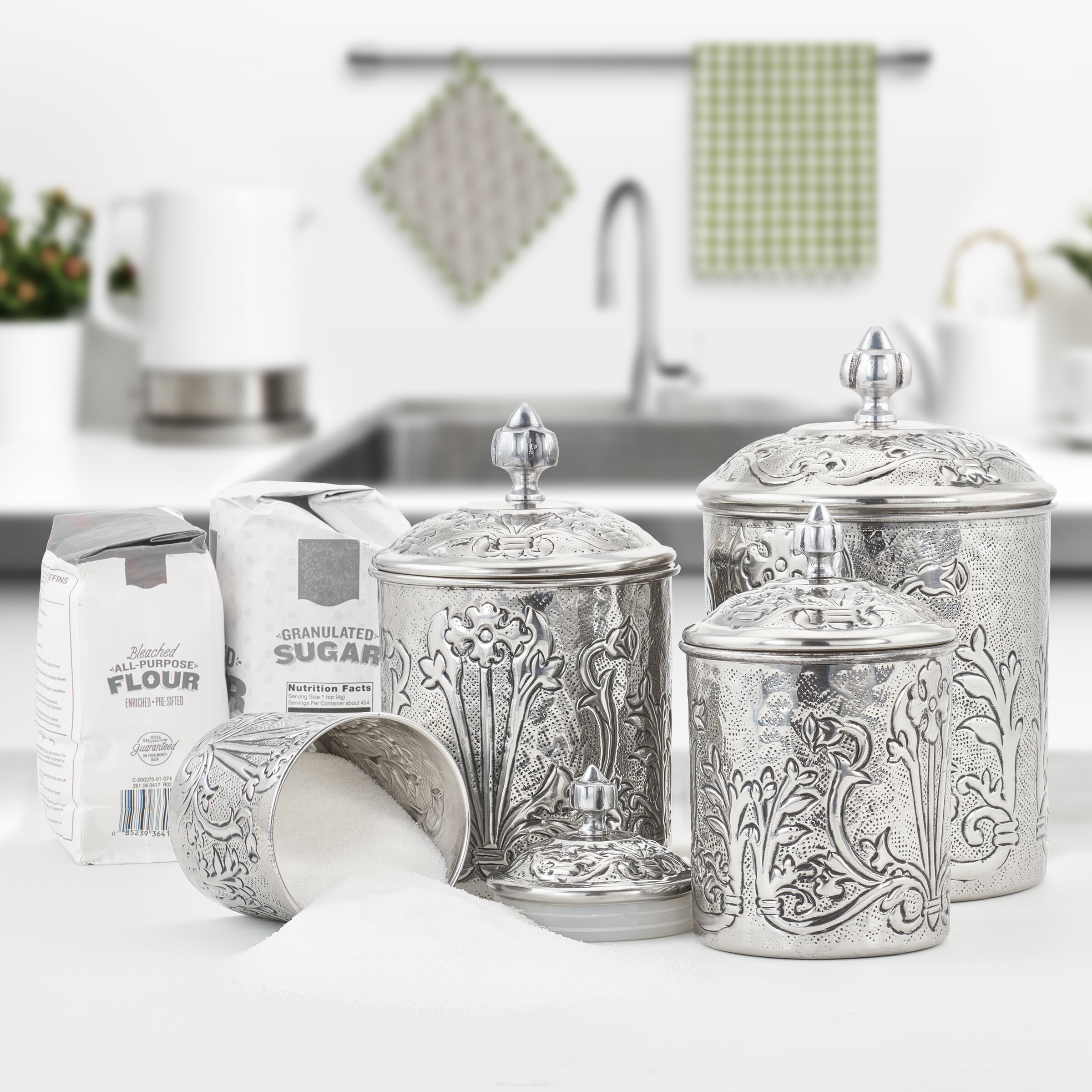 Art Nouveau Stainless Steel 11 Piece Kitchen Canister Set