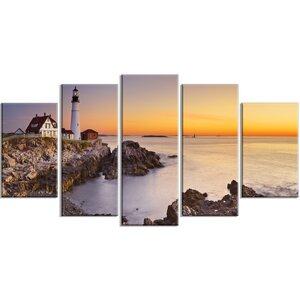 'Portland Head Lighthouse Maine' 5 Piece Wall Art on Wrapped Canvas Set by Design Art