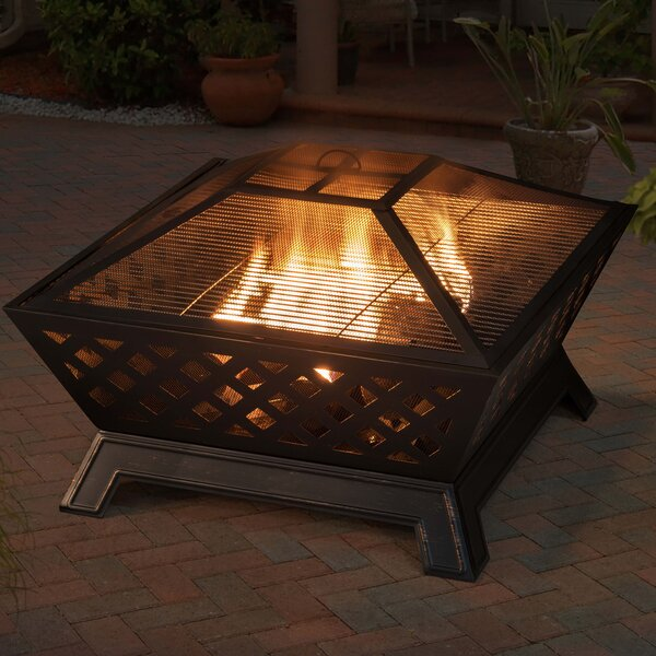 Deeper Bowl Cast Iron/Steel Wood Burning Fire Pit by Sunjoy