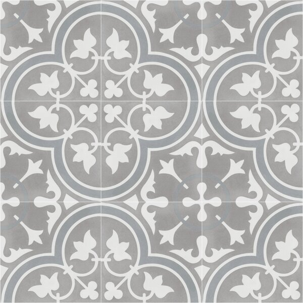 Tulips B Holland 8 x 8 Cement Field Tile in Warm Gray/White by Villa Lagoon Tile
