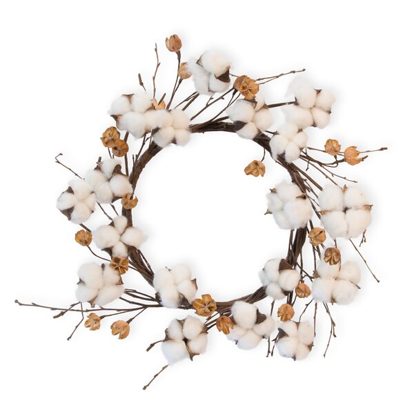 17 Cotton Wreath by Gracie Oaks