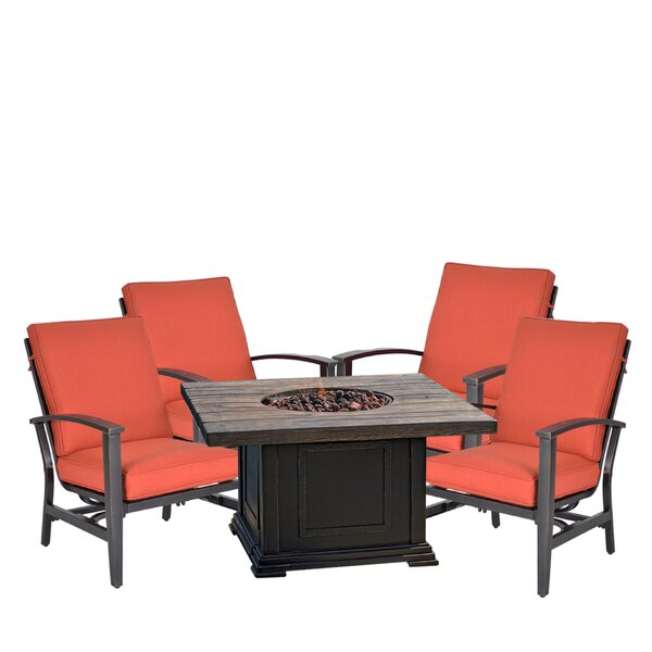 Gilbert Tres Motion 5 Piece Multiple Chair Seating Group with Sunbrella Cushions by Canora Grey