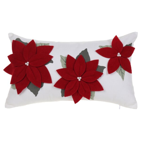 Three Poinsettia Red Cotton Lumbar Pillow by 14 Karat Home Inc.
