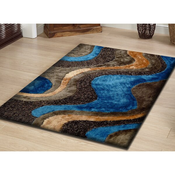 Hand-Tufted Brown/Blue Area Rug by Rug Factory Plus