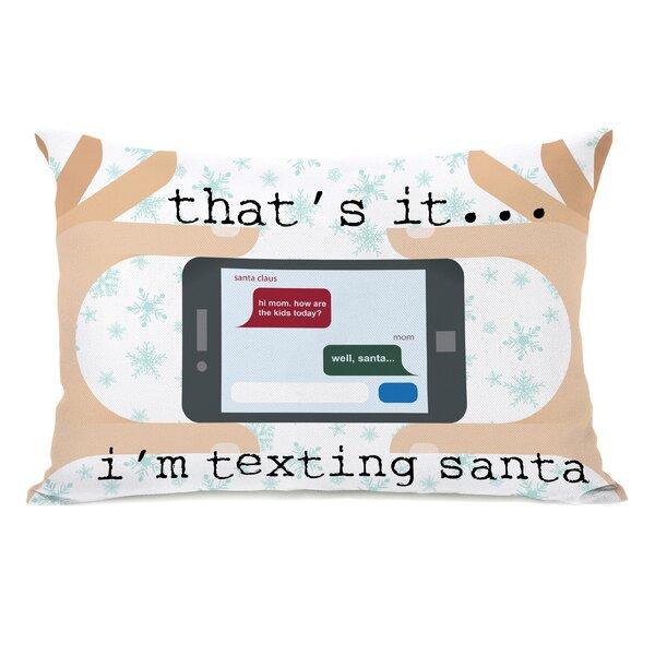 Texting Santa Lumbar Pillow by One Bella Casa